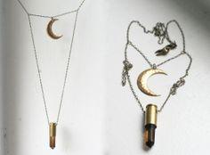 Moon over the Smoky Horizon... Smoky Citrine Quartz Bullet Crystal Necklace