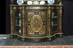 """19th Cent. French Napoleon III sideboard in """"Boulle"""" with mountings in guilded bronze"""