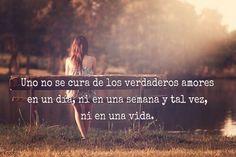 Uno no se cura de los verdaderos amores en un día, ni en una semana y tal vez, ni en una vida.