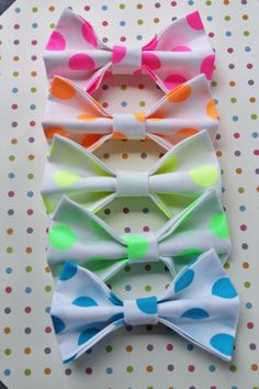 Neon Bow Tie Hair Clips & Headbands!! if only they had purple.  www.katyandliv.etsy.com