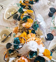 dip dyed paper flower centerpieces from julias poppies