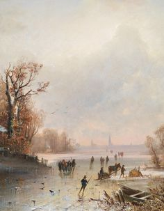 Winter Landscape with Ice Skaters, 19th Century. Detail.