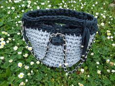 BuCKeT bag...Two-tone gray / blue Borsa secchiello di JustForYouhm
