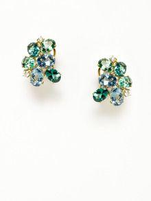 Donna Vock  Green Tourmaline, Aquamarine, & Diamond Cluster Earrings