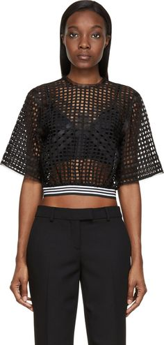 Denis Gagnon Black Lattice Mesh Short Sleeve Top boutique.denisgagnon.ca