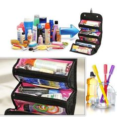 2016 Practical High Quality Cheap Roll Cosmetics Organiser Makeup Bag Toiletries Pocket Compartment Travel Bags #Affiliate