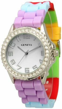 Multi Color Rainbow Band Silicone Watch w/ CZ Crystal Rhinestones Face Bling Ceramic Look Exquisite Collections. $7.98. Easy Read Numbers. Japan Quartz Movement. Approximately 1.5 inches face. Silicone Style Soft, Bendable, Flexible Band. Very fashionable and stylish. Makes a great gift!