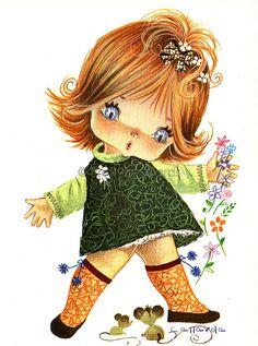 Big Eyed Girl Vintage 70s by Gallarda,