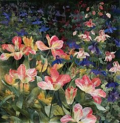 detail of Flame Tulips with Columbines by Amanda Richardson - click to return