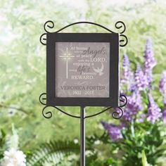 Need a unique gift? Send Memorial Garden Stake and other personalized gifts at Personal Creations. Graveside Decorations, Cemetary Decorations, Garden Plaques, Cemetery Flowers, Garden Angels, Multiplication For Kids, Memorial Gifts, Memorial Ideas, Memorial Plaques