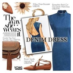 """Yoins 32:Denim Dress"" by pokadoll ❤ liked on Polyvore featuring yoins"