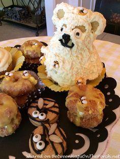Honey Bee Hives Made from Donuts, Bear Cake, Oreo Bee Cookies