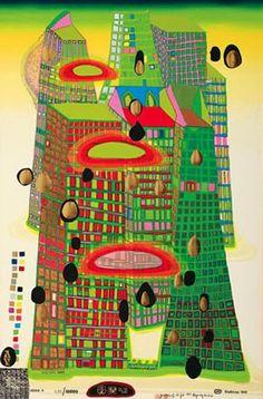 will ich irgendwann haben!! Hundertwasser - Good Morning City - Bleeding Town - series F - 1969 color screenprint