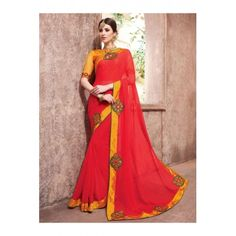 82678ce1d4 Buy party wear saree online for women. Grab this georgette embroidered and  patch border work classic saree for festival and party.