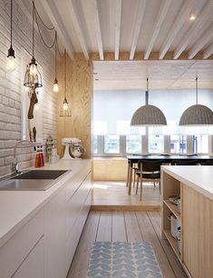 Cocina camuflada con pared de ladrillo blanco y mueble bajo. Proyecto DI en San Petersburgo, por INT2 architecture