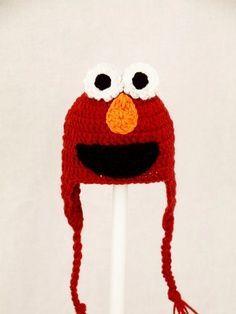 Sesame Street Characters Crochet Patterns | free crochet character beanie hat pattern | Elmo Monster Earflap Hat ...