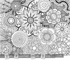 Coloring Page Zentangle Flowers