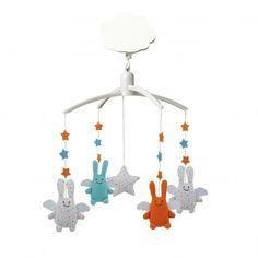 Móvil musical y ángel conejo estrellas  Trousselier