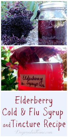 Elderberry Cold & Flu Syrup and Tincture Recipe Herbal Tinctures Natural Cold Sore Remedy, Cold Remedies Fast, Cold And Cough Remedies, Flu Remedies, Natural Health Remedies, Herbal Remedies, Holistic Remedies, Elderberry Recipes, Elderberry Syrup
