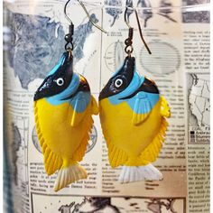 Yellow and Blue Earrings ($14) ❤ liked on Polyvore featuring jewelry, earrings, statement earrings, fish jewelry, earrings jewellery, blue jewelry and coral earrings