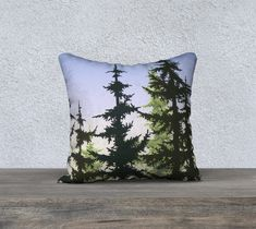 A personal favorite from my Etsy shop https://www.etsy.com/ca/listing/567684569/trees-and-blueyellow-sky-pillow-cover