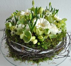 """bird's nest"" floral arrangement centre piece in white and green"
