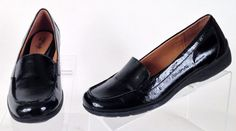 Sofft Eurosofft Black Patent Leather Loafers Womens 8.5 Medium Excellent Used #Sofft #LoafersMoccasins