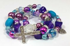 Beaded BraceletsCross Bracelet Stretch by RandRsWristCandy on Etsy