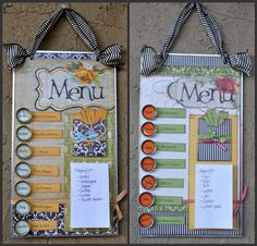 Menu board... Love the idea of having it magnetized, and the slips of paper with meals on them already. That way you don't have to try to come up with something NEW everyday