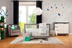 Amazon.com : Babyletto Hudson 3-in-1 Convertible Crib with Toddler Bed Conversion Kit, Grey / White : Baby