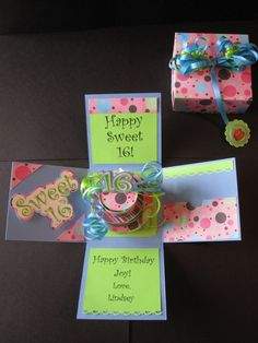 Sweet 16 birthday explosion box so cool! 16th Birthday Card, Birthday Box, Sweet 16 Birthday, Sweet Sixteen, Birthday Explosion Box, Exploding Box Card, Sweet 16 Gifts, Pop Up Box Cards, Card Boxes