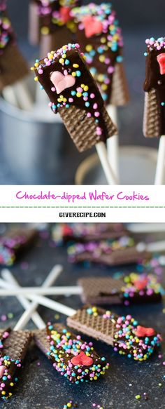 Chocolate Dipped Wafer Cookies - Chocolate Dipped Wafer Cookies are the easiest, cheapest, cutest and yummiest treats for special occasions like Valentine's Day. Snacks Für Party, Party Treats, Holiday Treats, Party Appetizers, Holiday Appetizers, Party Dips, Chocolate Dipped, Chocolate Cookies, Chocolate Snacks