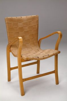 Gustaf Axel Berg; Birch and Hemp Webbing 'Housewife' Chair, 1930s.