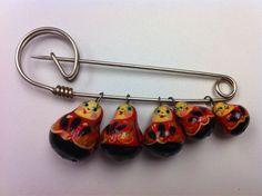 Matryoshka doll pin made by my grandma