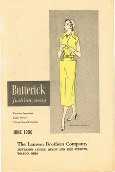1950s Vintage Butterick Fashion News Pattern Flyer June 1950 NICE! #Butterick