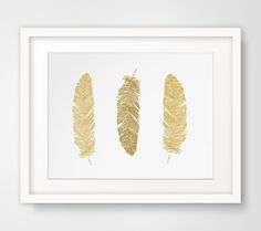 Gold Feathers Wall Print, Mustard Yellow Feather Wall Art, Gold Wall Print, Mustard Yellow Feathers Print, Yellow Wall Art, Gold Feathers by MelindaWoodDesigns on Etsy https://www.etsy.com/listing/205098198/gold-feathers-wall-print-mustard-yellow
