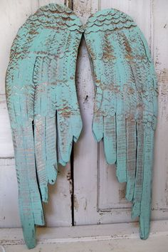 Wall decor angel wings sea glass wooden carved by AnitaSperoDesign, $195.00