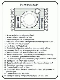 Printables Table Manners Worksheet free printable table manners chart this shows different list of good bing images