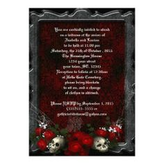 Skulls and Roses Goth Wedding Invites