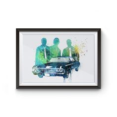 This is a fan art I made for the american television series SuperNatural. It features Dean, Sam, and Castiel and the Chevy Impala. This open edition print will be professionally printed on archival ac