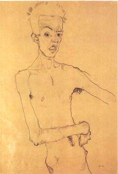 Schiele_-_Selbstbildnis-1910.jpg (imagen JPEG, 864 × 1280 píxeles) — Designspiration