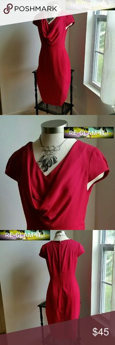 .ANNE KLEIN. .....BEAUTIFUL MAGENTA....DRESS. ...EXCELLENT CONDITION ... ...NORMAL WEAR ...NO FLAWS ...BEAUTIFUL  ...A MUST HAVEEEE  ...true to its size and color ...color...magenta. .like fushia red ...2 pic up close ...waterfall front ...sleeveless  ...hidden zipper back  ...comfortable  ...MTRL...adding soon ...LENGTH. ..adding soon ... better in person Anne Klein Dresses