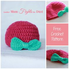 Free crochet baby hat pattern. This adorable baby hat with a bow is perfect for a baby shower gift. Find the free crochet pattern here.