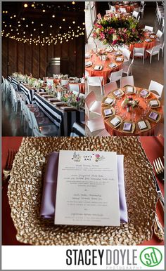 Black & White Liberty Stripe Linen, Papaya Satin Linen, White Paris Chairs, Square Gold Pebble Chargers by Rentals Unlimited.   Lola Grace Events/Stacey Doyle Photography