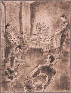 """Die Zeichnung heißt """"Weihnachten"""" und entstand 1950. Es zeigt die Familie Körnig, sie wohnten damals im Dresdner Norden.     Hans Körnig, Weihnachten, Feder in schwarzer Tusche, schwarz gewischt, auf rosa Bütten, 1950"""