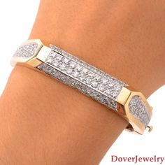 Estate 6.50ct Diamond 18K Yellow Gold Bangle Bracelet 31.5 Grams NR