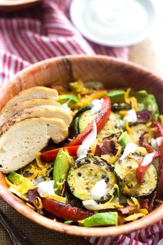 Healthy Ranch Taco Salad -  I am seriously obsessed with this. Healthy, Cheese AND Bacon! #salad #taco #recipe