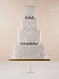 gray color wedding cake