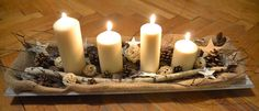 DIY Christmas Table Centerpiece Candles