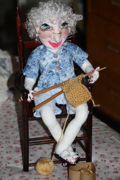Handmade OOAK 16 Sitting Knitting Doll by SherisShoppe on Etsy, $165.00